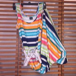 Maxi Beach Dress Tie Dye Stripes Jersey Knit XL